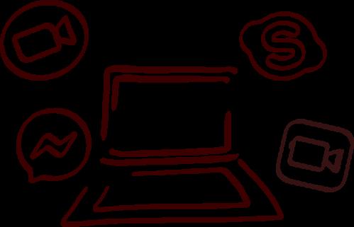 illustration séance clarification à distane skype zoom messenger facetime
